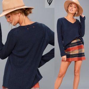 Lulus Cozy Cutie Navy Blue V Neck Sweater Small